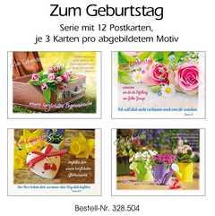Postkartenserie Geburtstag, 12 Stück