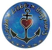 Handschmeichler: Glaube Hoffnung Liebe - blau